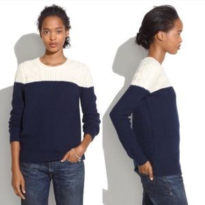 Madewell Colorblock Navy & Ivory Knit Sweater (L)